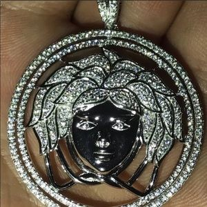 Other - NEW SOLID SILVER and Lab Diamond Medusa pendant
